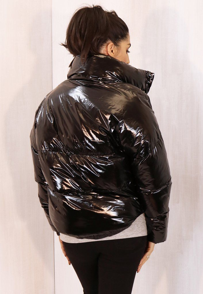 0cb9db48392 Cropped Padded Shiny Vinyl Puffer Jacket with Funnel Neck in Black - One  Nation Clothing