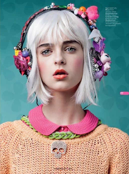 floral earphones, white hair and popping colors