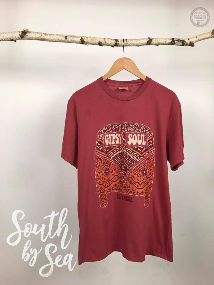 Chi Omega | Chi O | Gypsy Soul | Greek Tee | Custom Groovy Design | South by Sea | Greek Tee Shirts | Greek Tank Tops | Custom Apparel Design | Custom Greek Apparel | Sorority Tee Shirts | Sorority Tanks | Sorority Shirt Designs