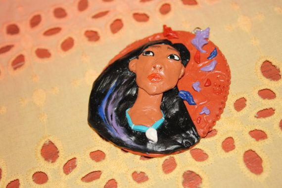 Hand scupted pendant of Pocahontas. Available in my Etsy shop :)