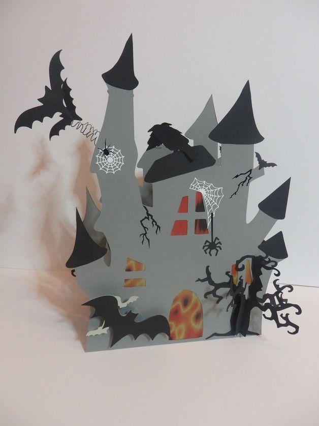"""Herbst - Laterne """" Gruselschloss """" Martinslaterne mit 3D - ein Designerstück von Wonderful-Paper-Art bei DaWanda"""
