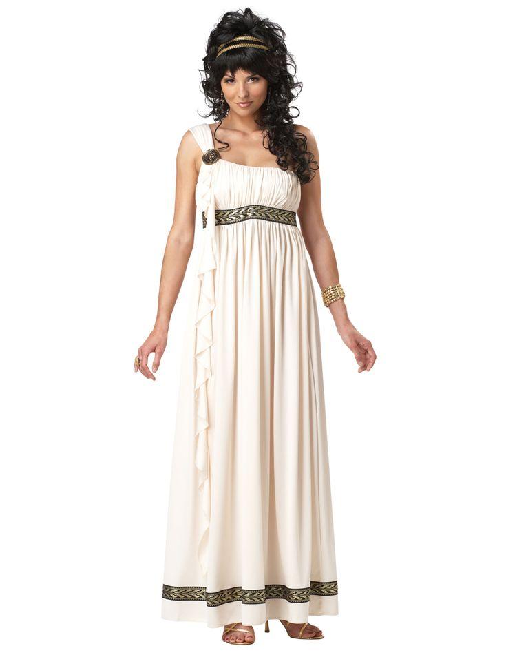 Disfraz Diosa olímpica mujer: Este disfraz de diosa olímpica para mujer incluye vestido, cinta y broche.El vestido es largo, ancho y de color crema con bandas doradas. Un broche dorado le dará el toque romano...