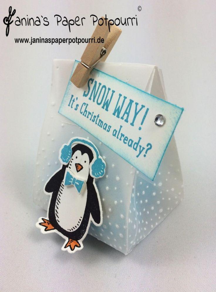jpp - Penguin Vellum Goodie / Pinguin Verpackung mit Pergament / Weihnachten / Winter / Stampin' Up! Berlin / Leise rieselt Prägeform / Es schneit / Framelits Frostige Freunde / Snow Place / Snow Friends Framelits  www.janinaspaperpotpourri@gmx.de