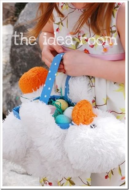 DIY easter basket out of a stuffed animal