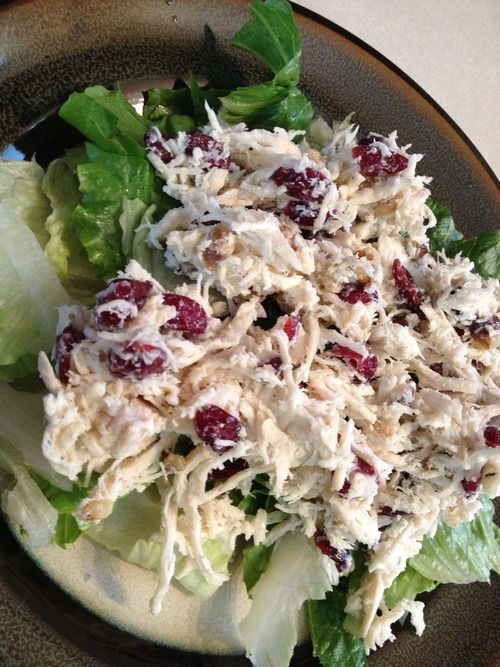 Turkey-Cranberry Salad [combine shredded turkey, Greek yogurt, dried cranberries or cranberry sauce and walnuts and serve over greens] via Sweet Success #healthy #Thanksgiving