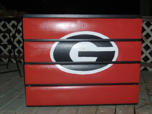 Old dresser painted with a Georgia Bulldog G!  Our grandson's, Layton's, room may get one of these...it's already done in Georgia!!