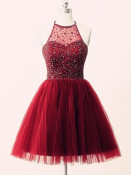 UHC0015, 2017 Elegant, Burgundy, Short Prom Dresses, red homecoming dresses, with beads homecoming dresses, High neck homecoming dresses
