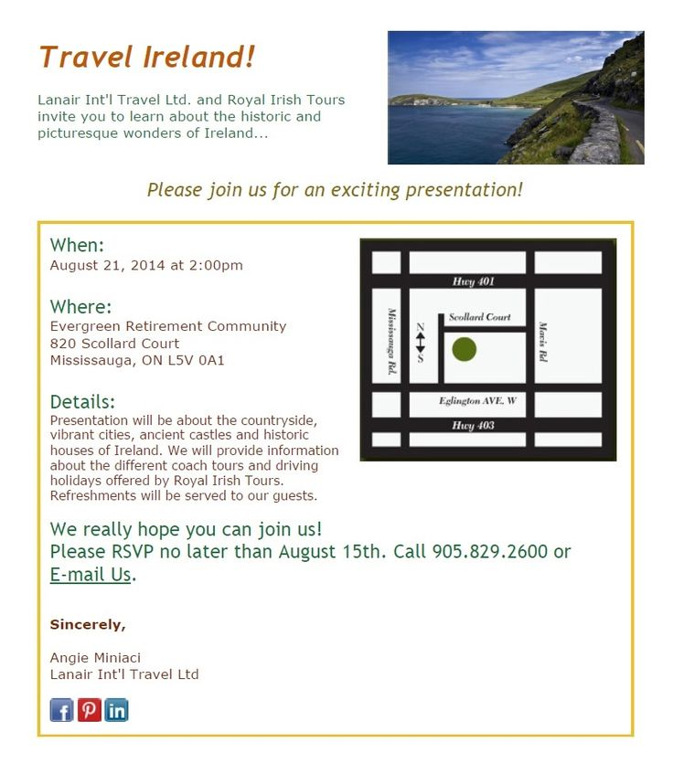 Join us for a presentation on #travel to #Ireland. Learn about the #countryside, #castles, #cities and types of #tours offered to this wonderful #destination! #coachtour #drivingholiday #event #Oakville #travelagency #Mississauga
