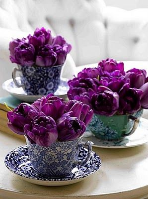 purple, I Love Purple...doing this with some vintage cups & saucers I found...