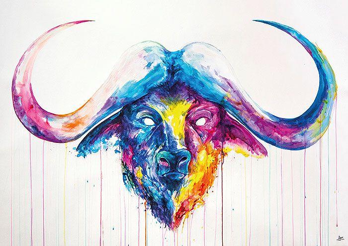 буйвол | Марк Алланте | Marc Allante | #watercolor #акварель #буйвол