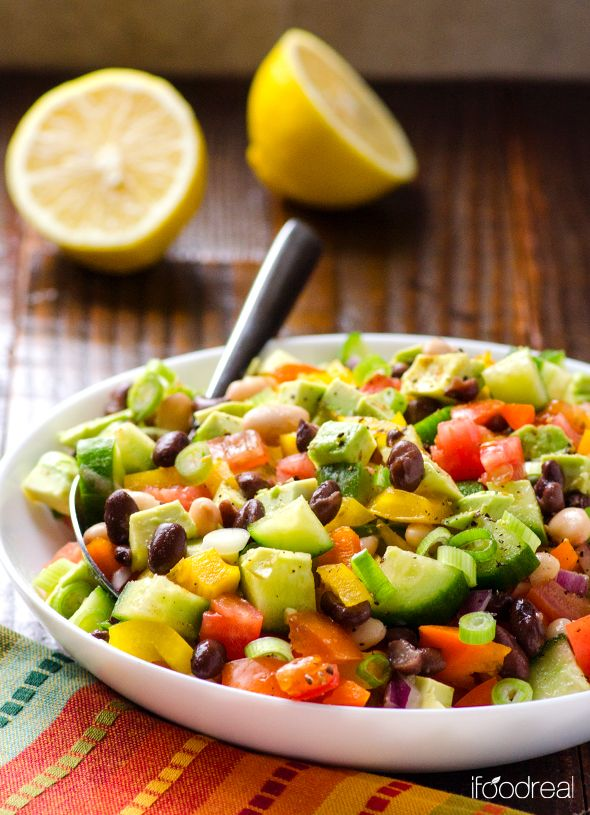 Mexican Bean Salad recipe via ifoodreal.com #cleaneating