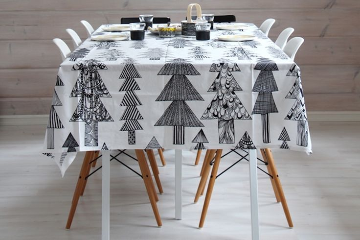 This delightful table from Kaikki Mitä Olen of Finland is anchored by a homemade tablecloth made of Marimekko Kuusikossa fabric. Make your own to fit your table, and sew up a few pillows while you're at it!