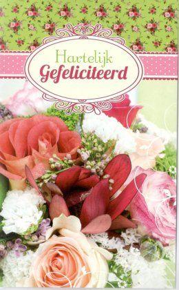 Hartelijk gefeliciteerd!  verjaardagskaart met bloemen