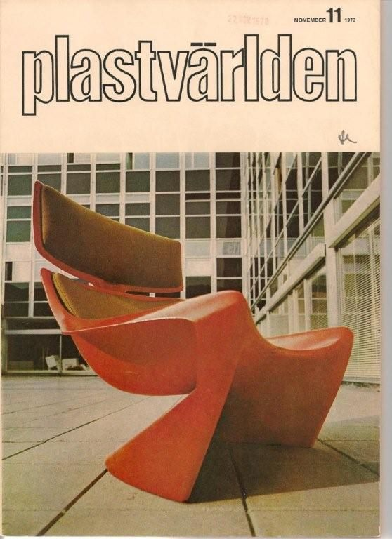 """The 265 President lounge chair featured on the front cover of The Magazine """"Plastvarlden November 1970, The worlds largest chair molded in one piece"""