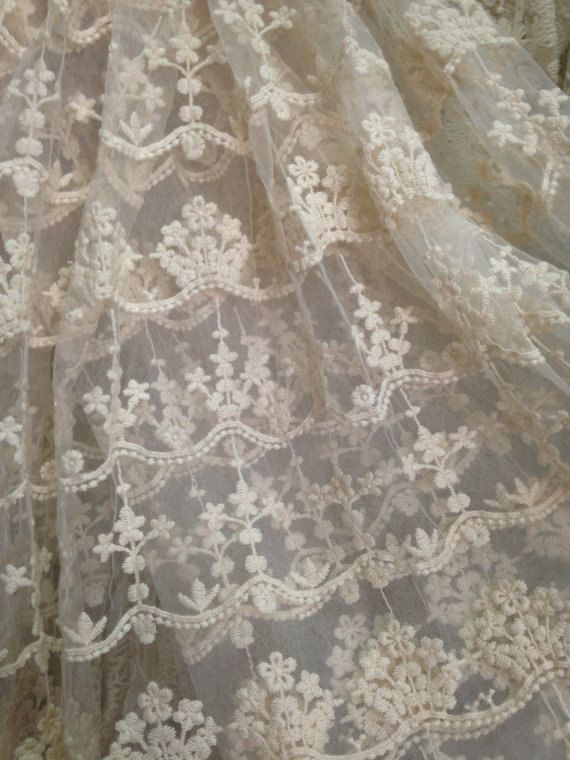 cream Lace Fabric, vintage style bridal lace fabric, Embroidered Lace