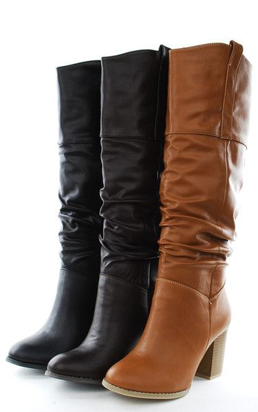 "Slouchy Knee High 3"" Heel Boots-Chestnut"