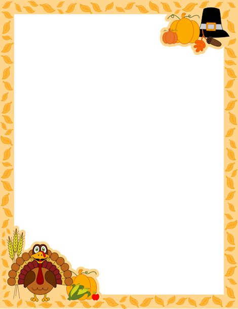 A page border for Thanksgiving with a turkey cartoon, Pilgrim hat, and more. Free downloads available at http://pageborders.org/download/thanksgiving-border/