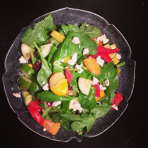 Throw it together: Goat cheese, pepper, spinach, tomato, orange and cranberry!