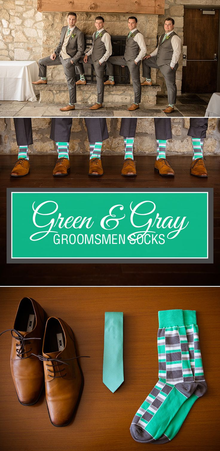 Check out Bryn M. and his groomsmen rocking these awesome green stacked dress socks for the big day! Lookin' good, fellas. You pick up your own pair of green gray stacked groomsmen dress socks here.