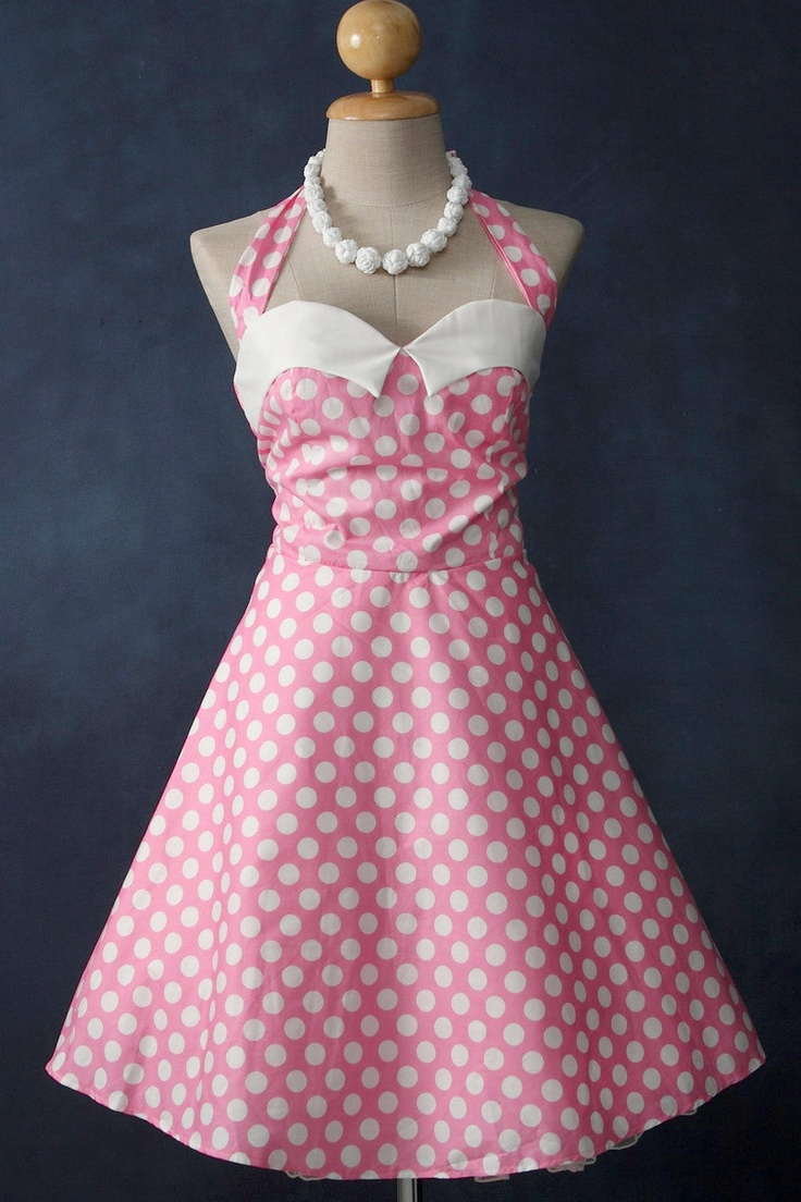 Polka dot rockabilly handmade dress. Retro designed halter neck dress, 50's inspired. S / M. $59.00, via Etsy.