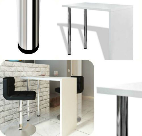 Kitchen Breakfast Bar Table High Gloss White Dining Lunch Stand Steel Legs New