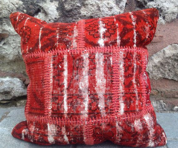 Kilim Patchwork Pillow, Red, Unique Flat Woven Pillow, 24 inches square, rug pillow, organic pillow, vintage and antique pillow.