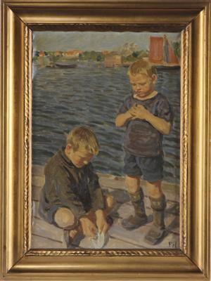 Peter Hansen. 1868-1928. Legende drenge ved havn. Signeret PH. Olie på lærred. 57 x 39 cm.  (67 x 49 cm.).