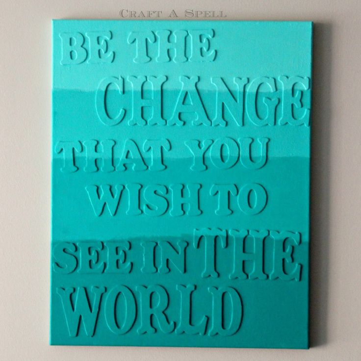 Craft A Spell: Ombre Teal Canvas Art - CHANGE THE WORLD