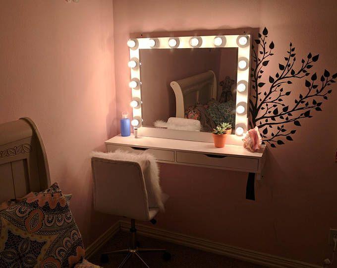 Hollywood Iluminado Maquillaje Espejo Gran Espejo Con Luces De Etsy Vanity Mirror Mirror Ikea Vanity