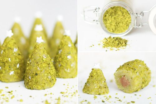 Pistachio christmas trees with marzipan and soft nougat, and a google's translation of the original Danish recipe.