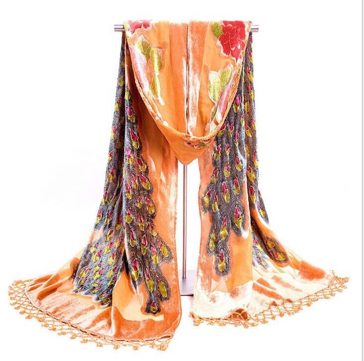 Beautiful Jewel-Accent Peacock Beaded Velvet Silk Women's Pashmina Shawl Scarf 14 Colors