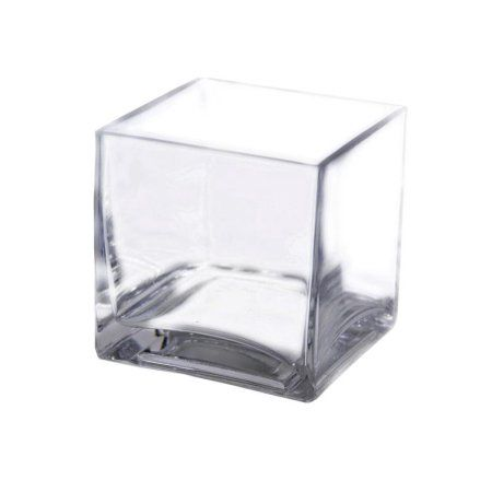 "BalsaCircle 1 Piece 4"" tall Clear Glass Cube Centerpiece Vase - Walmart.com"