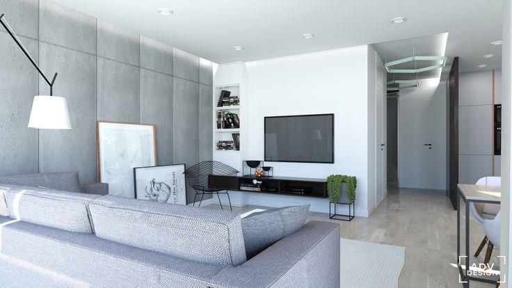 www.advdesign.pl 63m2_10 r living room hexagon mint grey diamond armchair concrete panels