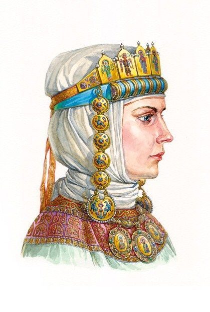 Ancient Russian Princess in her enamel tiara with temple pendants (kolty). The second half of the 12th – early 13th century.  Reconstruction of the wearing style according  to the  archaeological data. #medieval #Russian #history