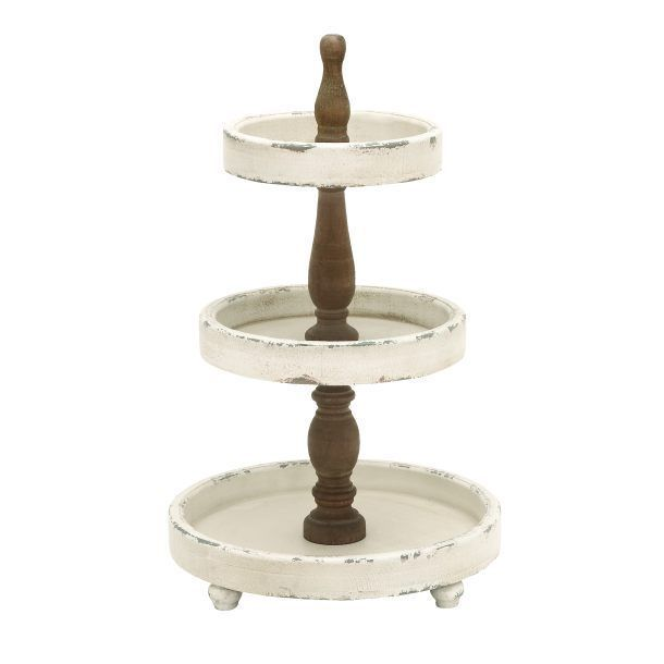 FRENCH COUNTRY 3 Tier Wood Brasserie TRAY/STAND White Footed Bathroom Caddy 0