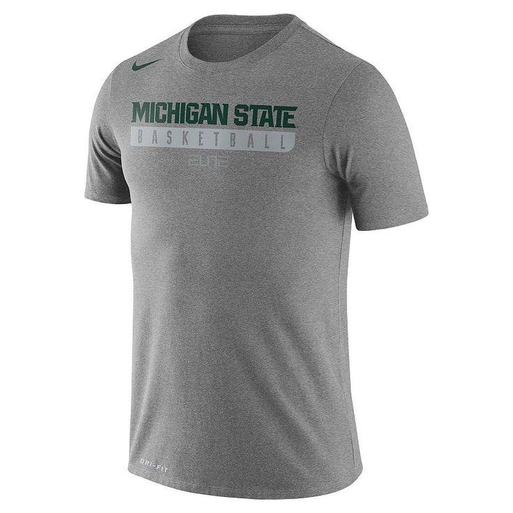 Men's Nike Michigan State Spartans Basketball Practice Dri-FIT Tee, Dark Grey