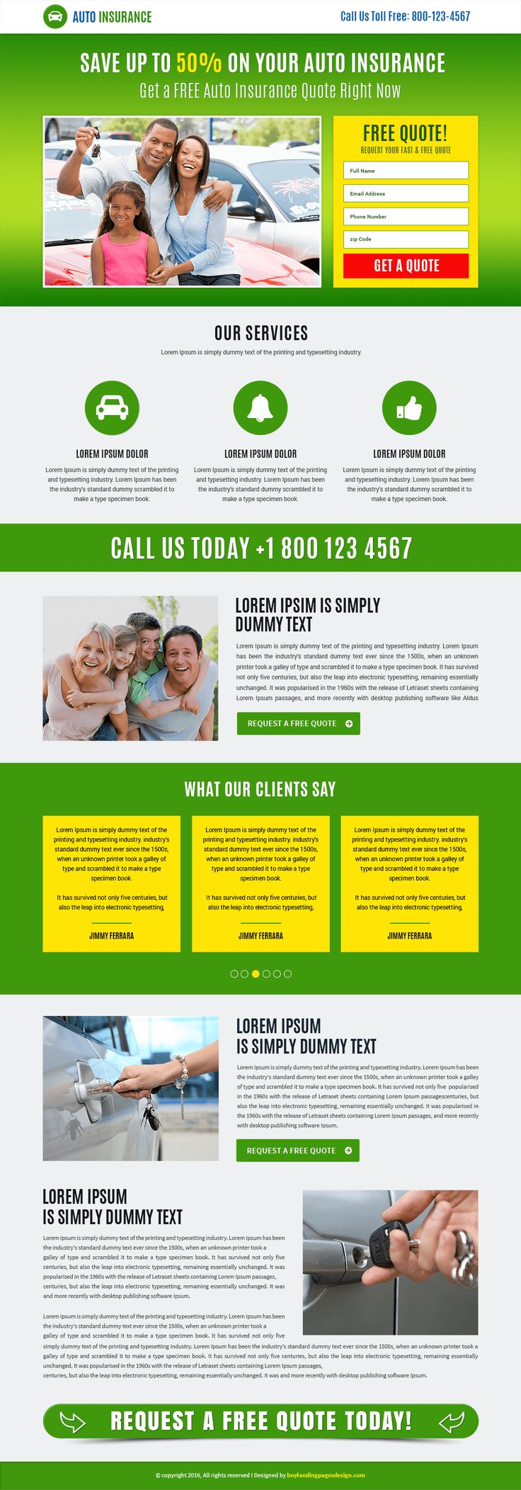 Auto insurance services responsive landing page template