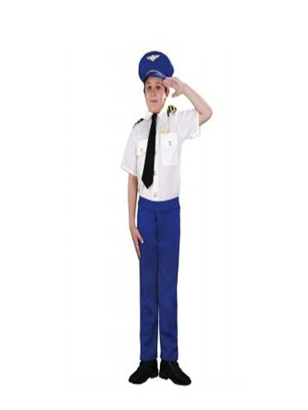 El disfraz de piloto aerolinea niño, incluye Gorro, camisa, corbata y pantalón. en DisfracesMimo.com