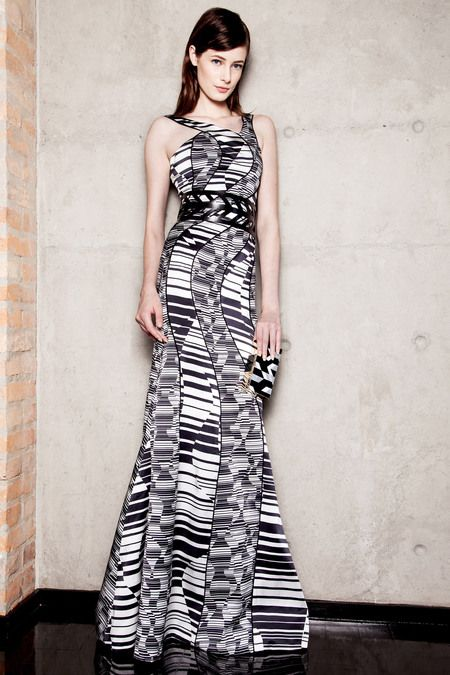 Carlos Miele Fall 2013 RTW (X)  #fall 2013 #rtw #ready to wear #fashion week #design #trend #style #clothes #dress #black and white #gown #geometric #pattern #model #collection