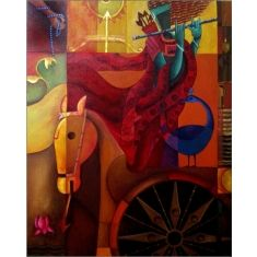 Partha Sharthi Anupam Pal 30 x 24 in Acrylic on Canvas Rs. 35, 000  #indiancontemporaryart #buyindianartonline #modencontemporaryart