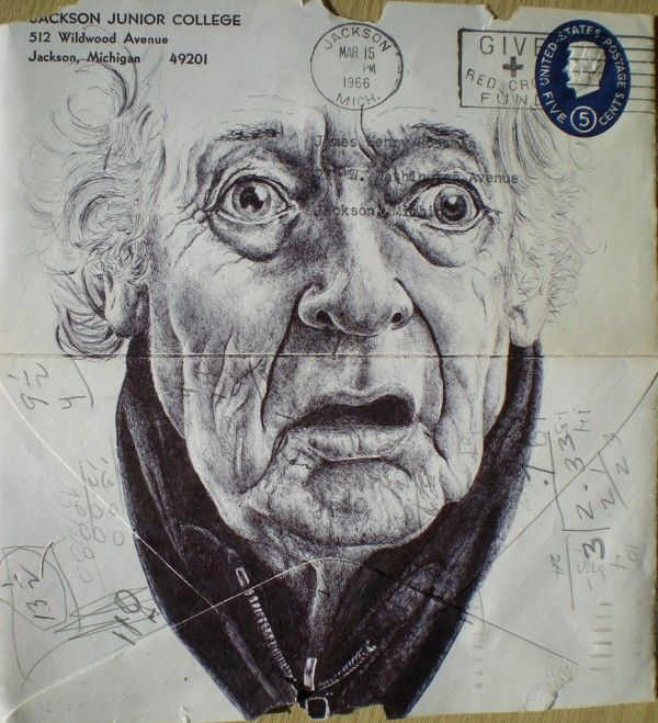 Mark Powell has chosen the backs of old envelopes as a canvas for these delicately rendered portraits of the elderly, using nothing more than a standard bic biro pen to create the delicate folds and wrinkles of their skin.