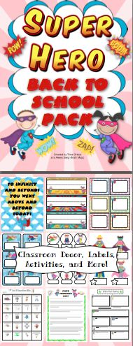 Super Hero Classroom Back to School Pack:  Back to school has never been easier! This pack is loaded with classroom decorations, open house activities, first week of school activities, and a super hero themed behavior chart. It now includes a link to an EDITABLE file with labels, letters, and activities from the pack! WOW! $