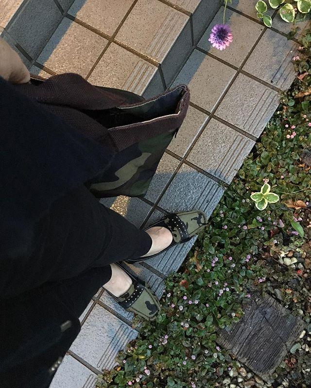 休日なのにまた雨☂️紅葉🍁も映えない。最近一目惚れして買ったお靴👠履いてお出掛けしたいよ〜(笑)鞄に靴🌟迷彩柄好きです😍 #休日の過ごし方 #休日#刺し子 #刺し子ふきん#足元 #足元倶楽部 #迷彩 #雨#ガーデニング#マイガーデン #おしゃれ #バークレー#rootote