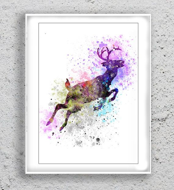 Deer Art Print Watercolor Print poster Print Art by MulticolourArt