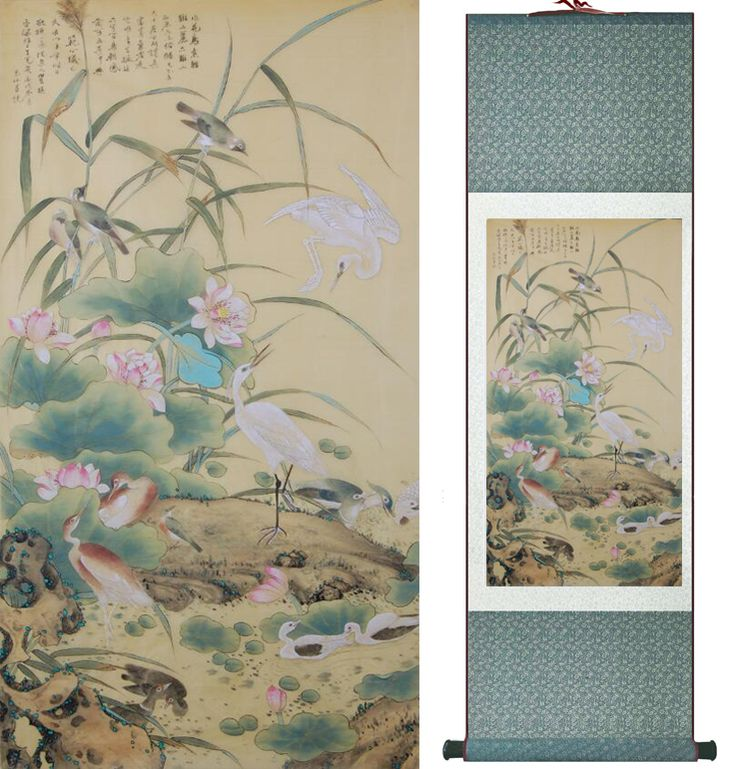 Traditional Birds and flower  Painting Home Office Decoration Chinese scroll painting  Spring  Ink  wash painting