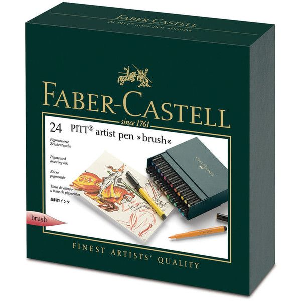 Faber-Castell PITT Artist Brush Pen Gift Set ❤ liked on Polyvore featuring home, home decor, office accessories, faber castell pens, faber castell box and faux leather box