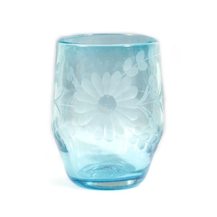 Rose Ann Hall Etched Mexican Glassware Barrel Glass