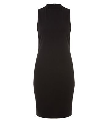 """On nights out pair this tab side high neck dress with ankle strap heels and a nude lip.- Tab side- High neck- Zip back fastening- Slim fit- Mini length- Model is 5'8""""/176cm and wears UK 10/EU 38/US 6"""