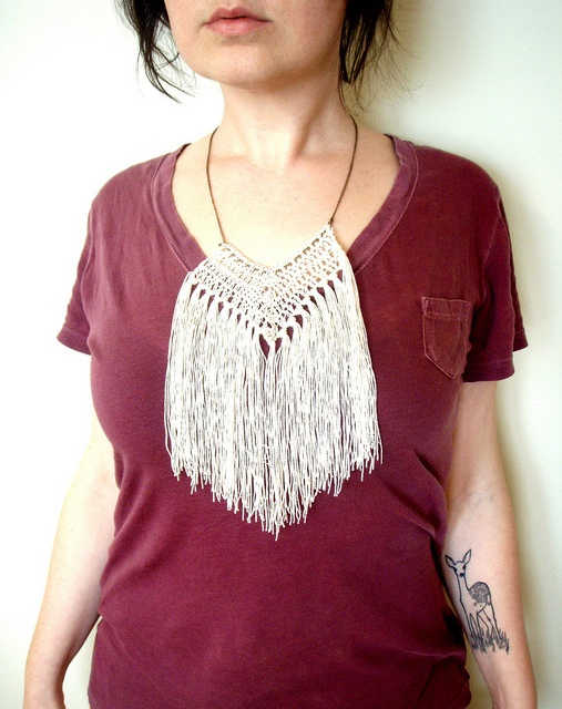 crocheted fringe collarTattoo Ideas, Crochet Necklaces, Animal Tattoo, Tattoo Inspiration, Deer Tattoo, Crochet Jewelry, Crochet Fringes, Fringes Collars, Crochet Collars Tassels
