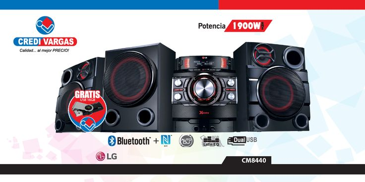 Potencia Y FidelidadXBOOM CM8440,1900W RMS, 2.1CH,BLUETOOTH + NFC,AUTO DJ, LATIN EQ,DUAL USB